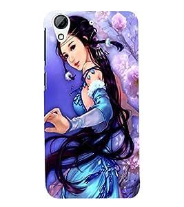 Printvisa Premium Back Cover A Girl In A Blue Dress Design For HTC Desire 728g Dual::HTC Desire 728G::HTC Desire 728