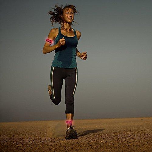 Pet Leso® LED Sports Armband Blinkendes Sicherheits-Licht Für Laufen, Radfahren Oder Nacht Gehen, Zebra Stripes -Pink