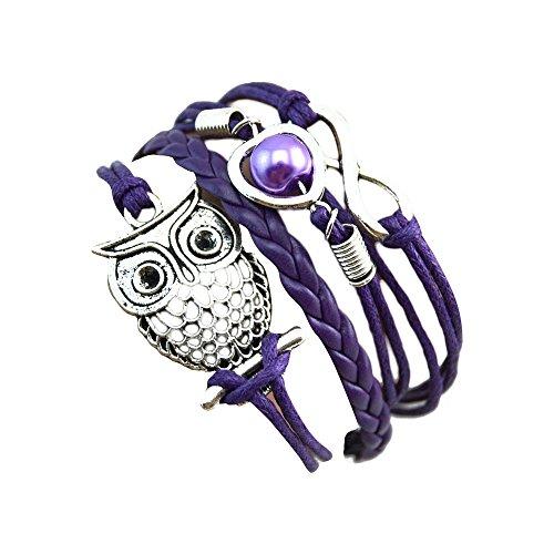 Sunnywill Mode Frauen schöne Infinity Eule Perle Freundschaft mehrschichtigen Charme Leder Armbänder Geschenk (Lila)