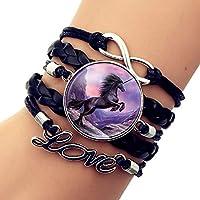 Unicornio del patrón de la vendimia pulsera de cuero hecha punto multicapas ajustable del brazalete del encanto del unicornio de múltiples capas de la joyería de la pulsera de cuero-Negro regalo