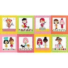 Girlfriends Kids Baby del panel de tela brillante–60cm x 110cm–Panel rk183by Robert Kaufman–100% algodón