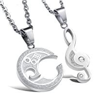 "Global Jewelry Brand New Amazing Titanium Couple""The Love From Stradivarius"" Pendant Necklace Set We Love Each Other Love Valentine, Packed with a Gift Box"