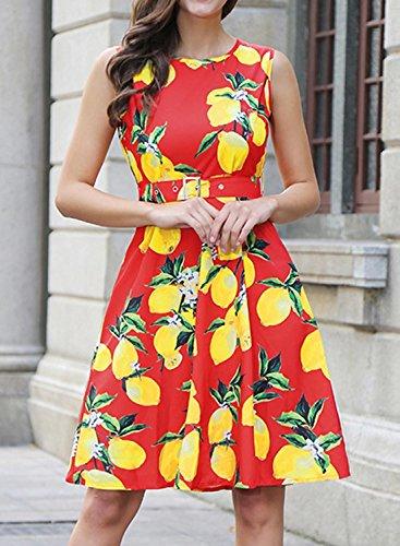 Futurino Damen Vintage Zitrone Ärmellos Fit Flare Mini Kleid mit Waistbelt Zitrone und Rot