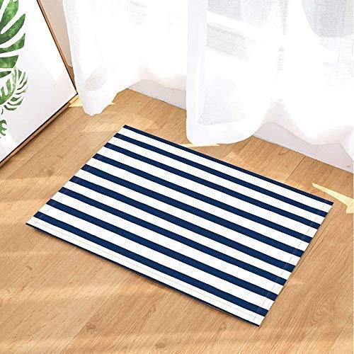 gwregdfbcv Blau Weiß Gestreiften Mosaik BodenBadmatte Anti-Slip Boden Eingangstür Anti-rutsch-Matte Children40X60CM - Stoff Gestreiften Weiß Und Blau