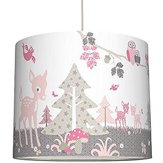 anna wand Lampenschirm REHLEIN ROSA/TAUPE – Schirm für Kinder/Baby Lampe mit Rehkitzen und Waldtieren in versch. Farben – Sanftes Licht für Tisch-, Steh- & Hängelampe im Kinderzimmer Mädchen & Junge