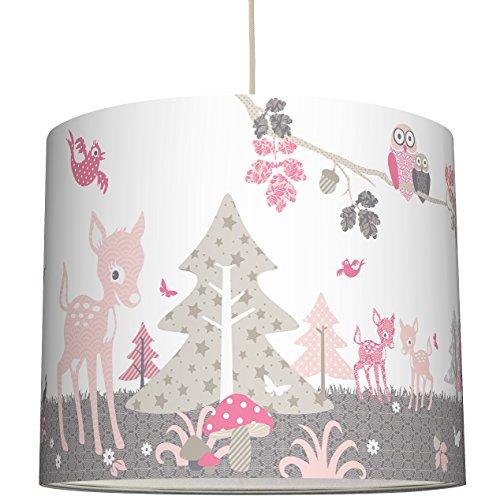 anna wand Lampenschirm REHLEIN ROSA/TAUPE – Schirm für Kinder / Baby Lampe mit Rehkitzen und Waldtieren in versch. Farben – Sanftes Licht...