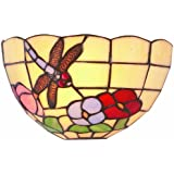 Lighting Web - Pantalla para lámpara de pared (cristal), diseño estilo Tiffany con libélulas y flores, multicolor