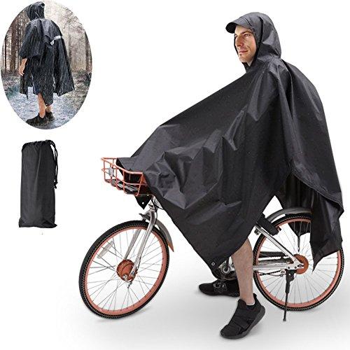 TBoonor Handschlaufen Fahrrad Poncho Premium Regenponcho mit Verstellbarer Kapuze reißfestes und Wasserdichtes Regenjacke Regenponcho Fahrrad Raincoat Regencape Regen Poncho Damen Herren (Schwarz)