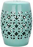 Safavieh Majorca Indoor/Outdoor Garden Stool, Stone, Soft Turquoise