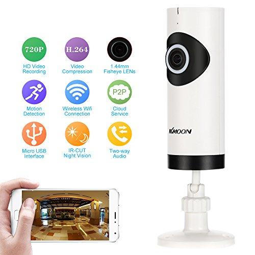 KKmoon Mini Caméra IP 720p 180 Degré 1/3 Inch Objectif Fisheye 360 Degrés Vue Complète Panoramique HD WiFi Surveillance Vidéosurveillance avec Vision de Nuit Infrarouge Audio Bidirectionnelle TF Carte