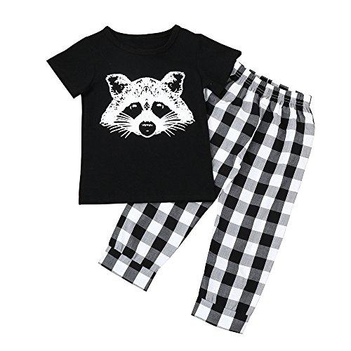 Covermason Bebé Niños Zorro Impresión Manga Corta Camiseta y Tartán Pantalones (2PCS/1 conjunto) (18-24M, Pantalones)
