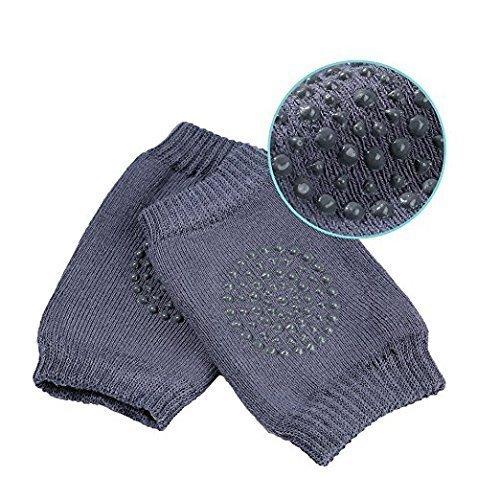 Baby Crawling Anti-Slip Knee Pads, Unisex Baby Toddlers Kneepads 1 Pair (Dark Grey)
