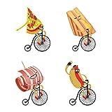 decalmile Stickers Cuisine Pizza Hot Dog avec Vélo Amovible DIY Autocollant Stickers Muraux pour La Cuisine Salle A Manger