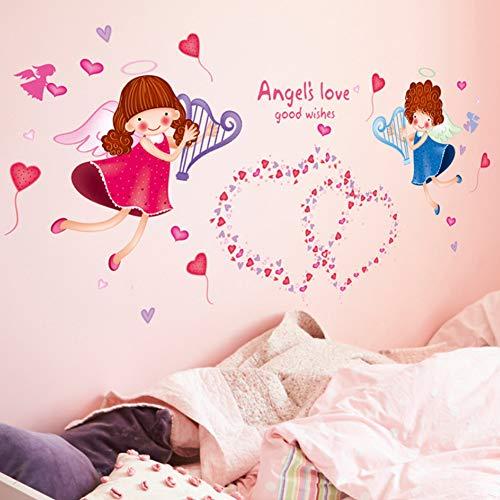 YzybzEngel Liebe Wandaufkleber Pvc Material Diy Cartoon Wandtattoos Für Kinderzimmer Kindergarten Dekoration