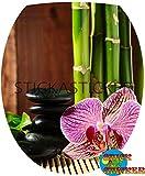 Sticker Autocollant Abattant WC Galets Bambou Orchidée 35x42cm réf 324