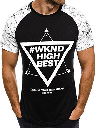 OZONEE Herren T-Shirt mit Motiv Kurzarm Rundhals Figurbetont ATHLETIC 1026 Schwarz_JS-SS093