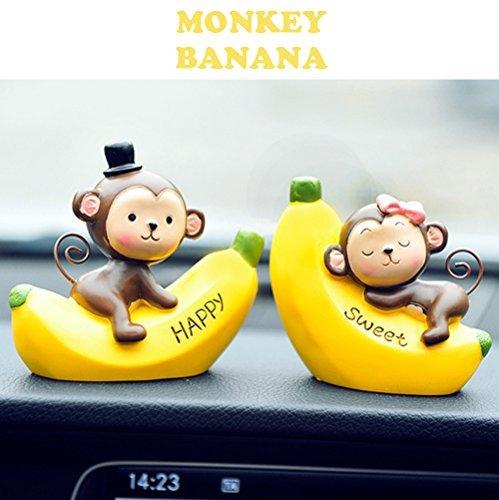 (Full Werk Creative Cute Affen Love Armaturenbrett Dekorationen Car Home Office Ornaments Best Geburtstag Urlaub Geschenk, Kunstharz, Monkey Banana)