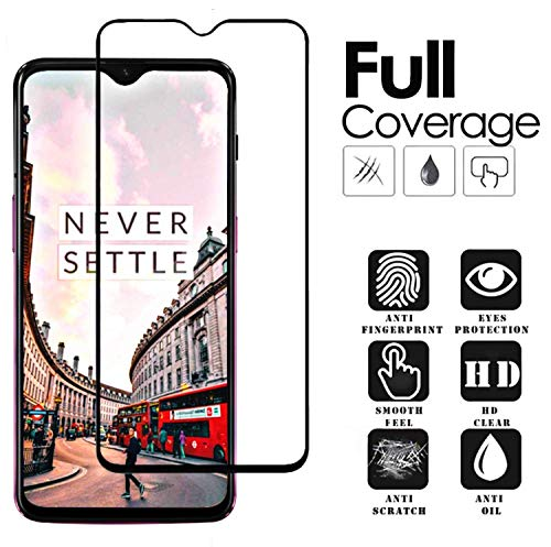 Aeidess Tempered Glass for OnePlus 6T (Black)-Edge to Edge Full Screen Coverage