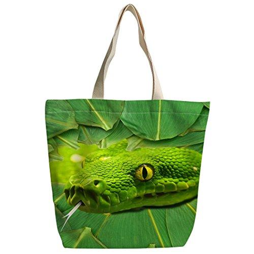 Violetpos Benutzerdefiniert Canvas Handtasche Einkaufstaschen Umhängetasche Schultasche Grüne Schlange Bambus lässt gelbes Auge (Auge Wasser Entspannt)