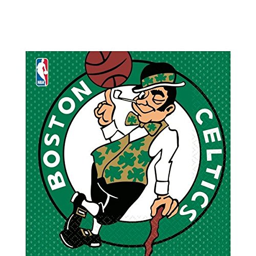 Amscan Sports & Tailgating NBA Party Boston Celtics Luncheon Napkins (16 Piece), Multi Color, 6.5 x 6.5 by ()