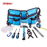 HiSpec 12 Piece Children's Tool Set and Tool Belt with Real Hand Tools, Accessories, Eye Protection and Universal Tool Pouch for Home DIY, Decorating, Carpentry and Woodworking (Blue) - Great Gift Idea