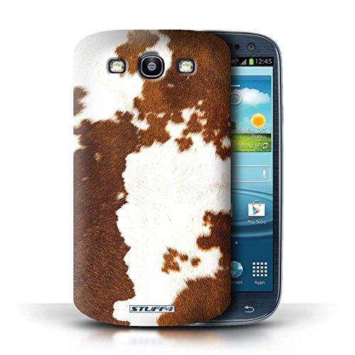 Coque en plastique pour Samsung Galaxy S3/SIII Collection Motif Fourrure Animale - Zèbre Vache/Brown