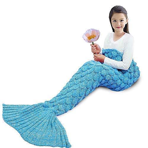 YOWAO Meerjungfrau Decke, Fisch Skala Muster alle Jahreszeiten Schlafsack (Blau, Kinder)