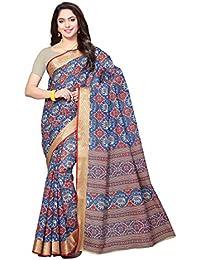 Rani Saahiba Women's Poly Cotton Saree With Blouse Piece (Skr3336_Beige - Blue)