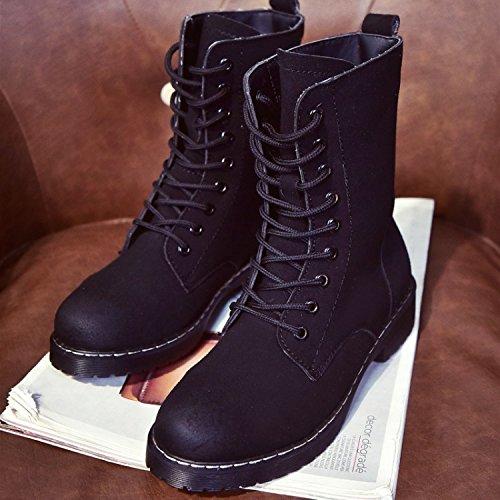&ZHOU Bottes d'automne et d'hiver courtes bottes femmes adultes Martin bottes Chevalier bottes a22 Black