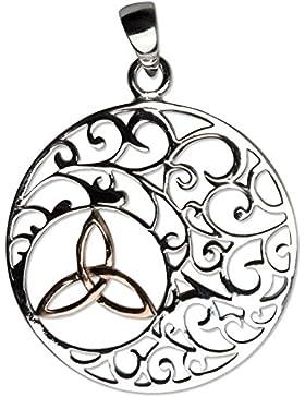 Anhänger Keltischer Knoten Trinity in Ornament Bicolor 925er Sterling Silber mit Rotgold Beschichtung