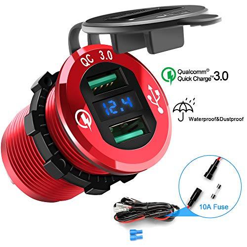 Toma USB de Cargador,12V/24V Cargador Coche Impermeable, Dual Quick Charge 3.0 Puerto,...