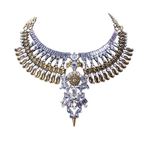 YAZILIND Vergoldete Crystal Flower Anhänger Halskette Bib Anweisung Kette Choker Klobige Kragen Frauen