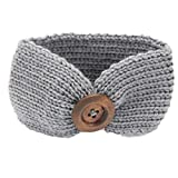DAYSEVENTH Baby Knitting Infant Girl Button Headbands Head Wrap Knotted Hair Band (Gray)