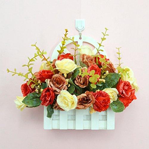 ALLDOLWEGE Personnalisé simple émulation menuiserie plastique en pot en pot pot de fleurs d'émulation en swing léger qui n'decorationThatThe jardin exquis ensemble Rose +Hook