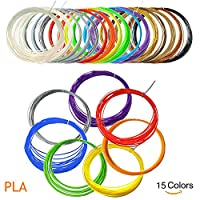 ACENIX® 3D Pen Filament 1.75mm PLA 3D Printer Filament [15 Colours, 16.5 Feet Each] total 248 Feet Lengths