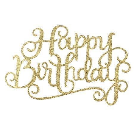 TankerStreet Cake Topper Happy Birthday Lettre Shape Golden Happy Birthday Décoration pour la fête Anniversaire de mariage