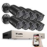 Überwachungskamerasystem von ZOSI, 8 Kanäle, 720 px, DVR-Rekorder, 8 Kameras, 1 MP, mit wasserdichtem Gehäuse, Steuerung per Internet, Mobilzugang (schwarz)