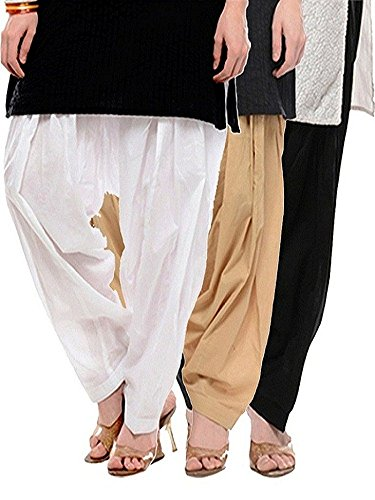 Pistaa Women's Premium Cotton Readymade Salwar (Milky White :: Beige :: Black)