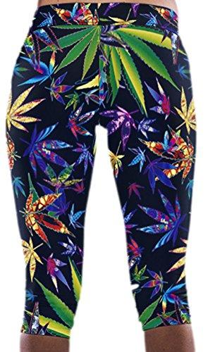 Lewi Brun - Damen Yogahose Fitnesshose Bunte Cannabisblätter Hanf, 38, Mehrfarbig (Hanf-yoga-hosen)