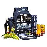 apollo walker APOLLOWALKER 4 Person Picnic Backpack Hamper Cooler Bag con Juego de Mesa y Manta