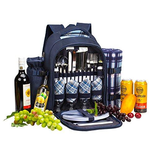 apollo walker APOLLOWALKER 4 Person Picknick Rucksack Hamper Kühltasche mit Geschirr Set & Decke