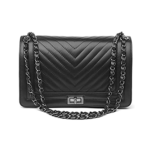 Almo 10.7x6.7 Inches Black Color Woman Hand Bag In Genuine Leather With Metal And Leather Chain Handle