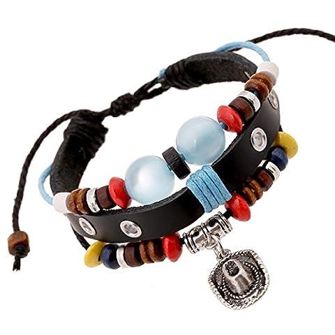 LZHMCircle Leather Bracelet Wristband For Unisex Multi Strands Adjustable Bracelets Tribal Braided Rope Rivet Chain Beaded Hat