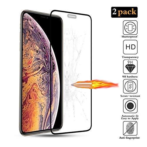 xinyunew iPhone XS Max[Pack de 2] Film Protection écran - Anti Rayures - sans Bulles d'air -Ultra Résistant [Couvir l'écran Complèt][sans Bulles] Dureté 9H Glass Protecteur Ecran Noir