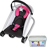 Baby Trend 2 in 1 Infant Musical Vibration Rocker Bouncer with 2-Piece Star Plush Toys and Wipes