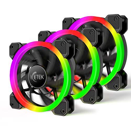 ICETEK Gehäuselüfter LED RGB Farbwechsel Beleuchtung PC 120mm 3er Pack 366 Modi mit Controller und Fernbedienung Leises Lüfterblattdesign