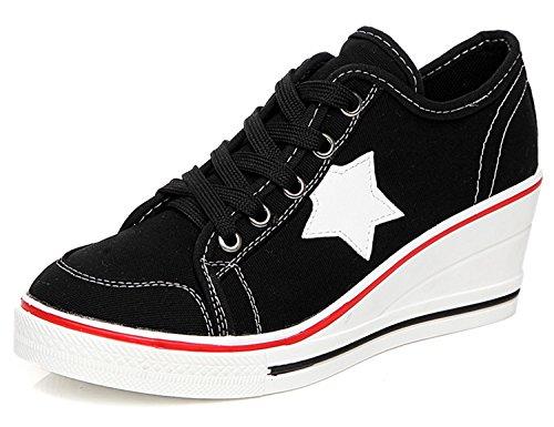 Fashion Women Shoes Woman Casual Shoes Comfortable Lace Up Platform Sneakers Wedges Denim Canvas Shoes Breathable Flat Shoe Black 6