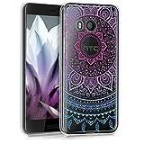 kwmobile HTC U11 Cover - Custodia in Silicone TPU per HTC U11 - Backcover Cellulare Blu/Fucsia/Trasparente