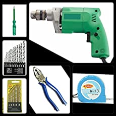 Toolscentre 334 Multipurpose Tool Kit With 10Mm Drill Machine (Green)