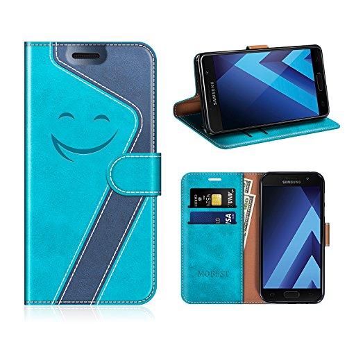 Leder Blau (Mobest Smiley Leder Schutzhülle / Kartenfächer für Samsung Galaxy A5 2017 Tasche Hülle, Aqua/Dunkel Blau)